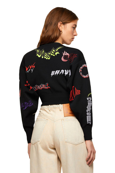 Cropped pullover with mixed logos