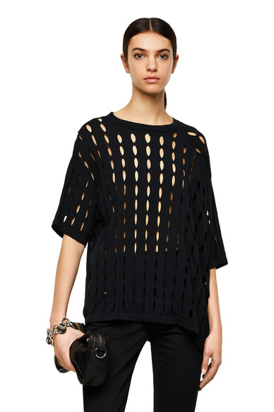 Pointelle pullover with contrast sleeves