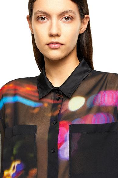 Sheer printed shirt with yoke opening