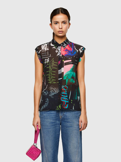 Sleeveless shirt with all-over print