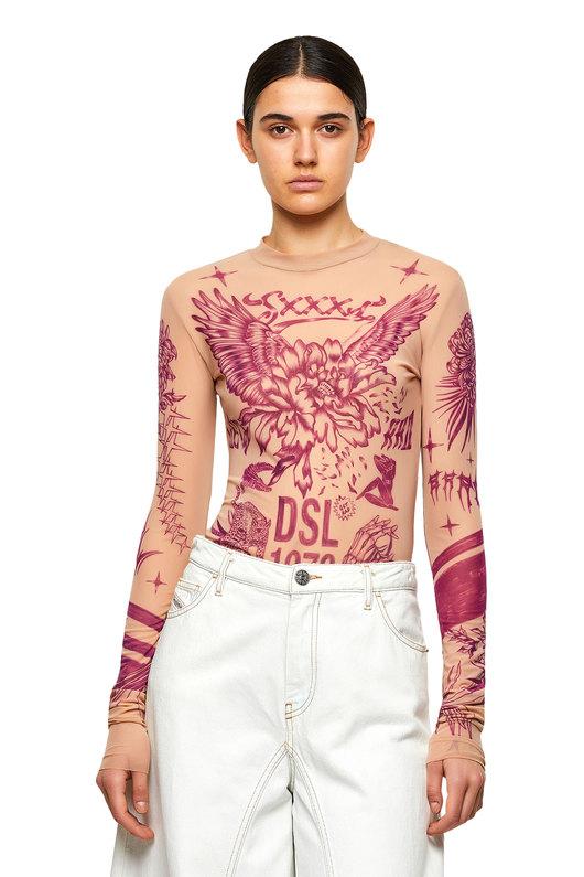 Stretch body with tattoo print