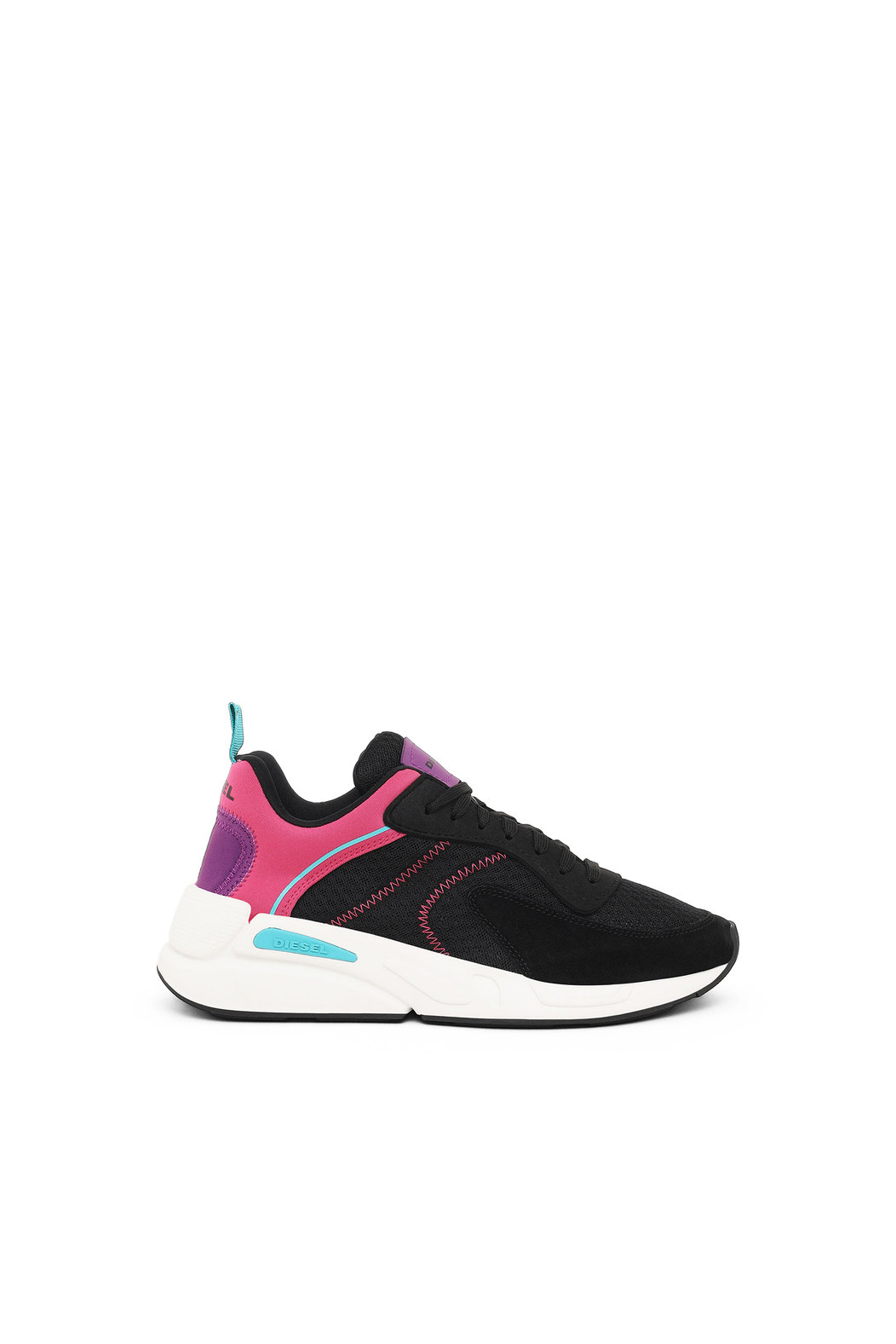 Running sneakers in mesh and suede
