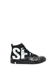 Paint-splattered high-top sneakers