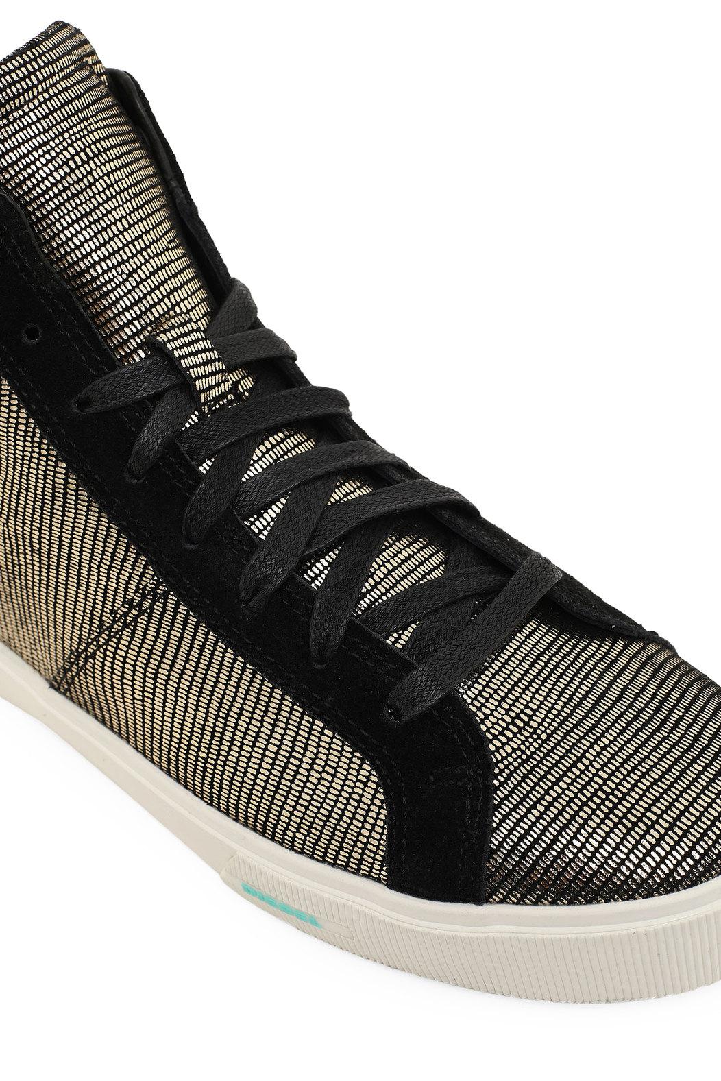 High-top sneakers with metallic motif