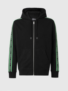 Zip-up hoodie with knitted logo bands