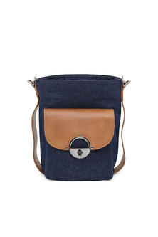 Bucket bag in denim and leather