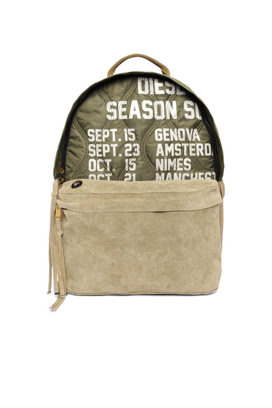 Backpack in quilted nylon and suede