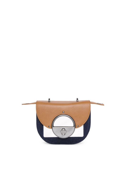 Saddle cross-body in denim and leather