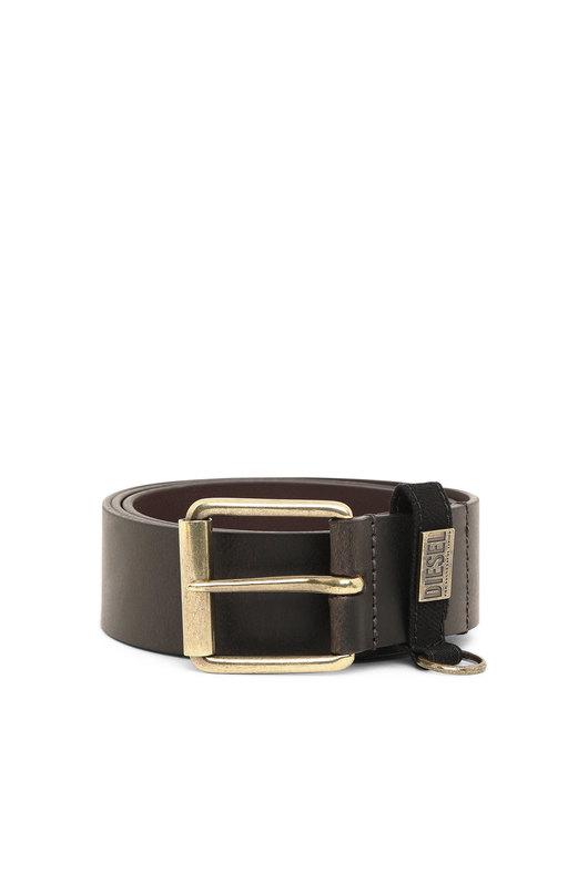 Leather belt with denim loop