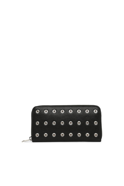 Chain wallet in studded leather