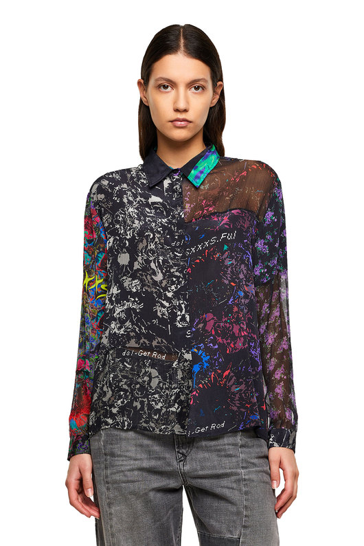 Printed shirt with patchwork design