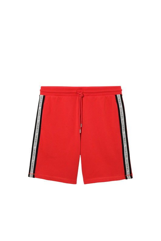 Shorts with knitted logo bands