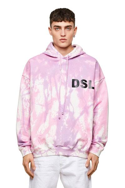Tie-dye hoodie with slogan print