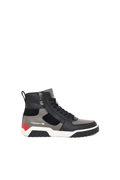 High-top sneakers in leather and suede