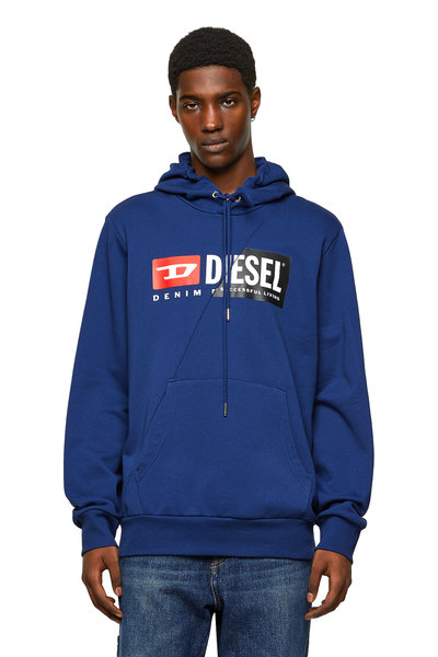 Cotton hoodie with spliced logo