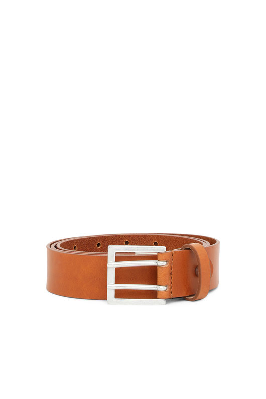 Leather belt with double-pin buckle