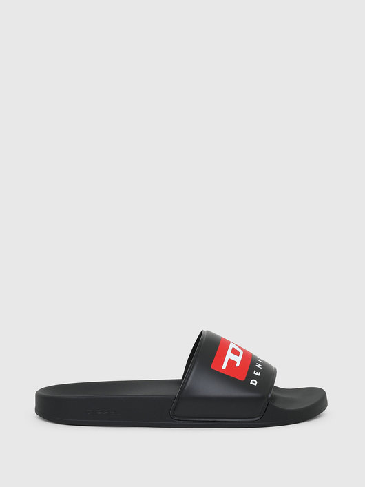 Pool slides with double logo