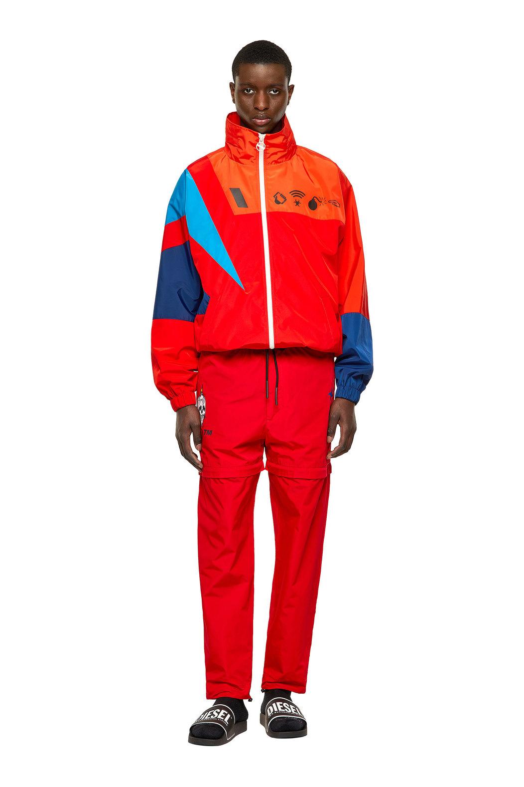 Colour-block jacket with Detox print