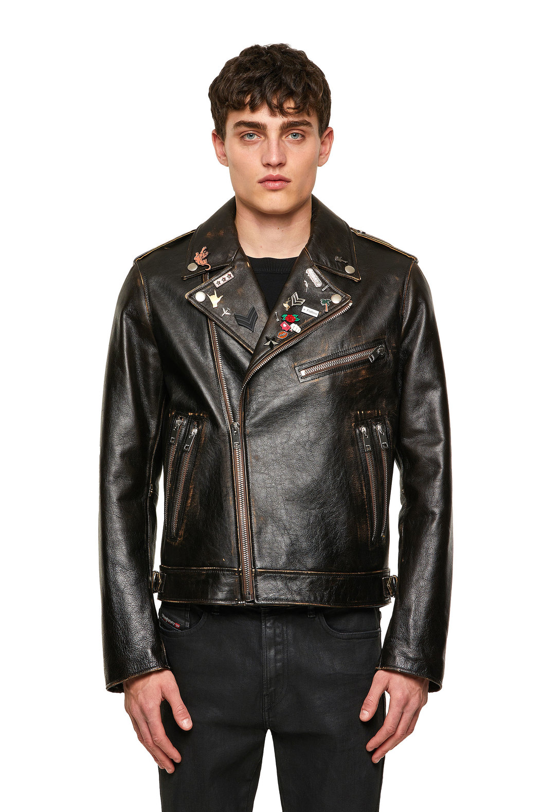 Biker jacket in treated leather