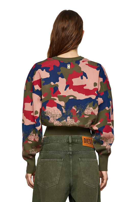 Pullover in camouflage jacquard knit