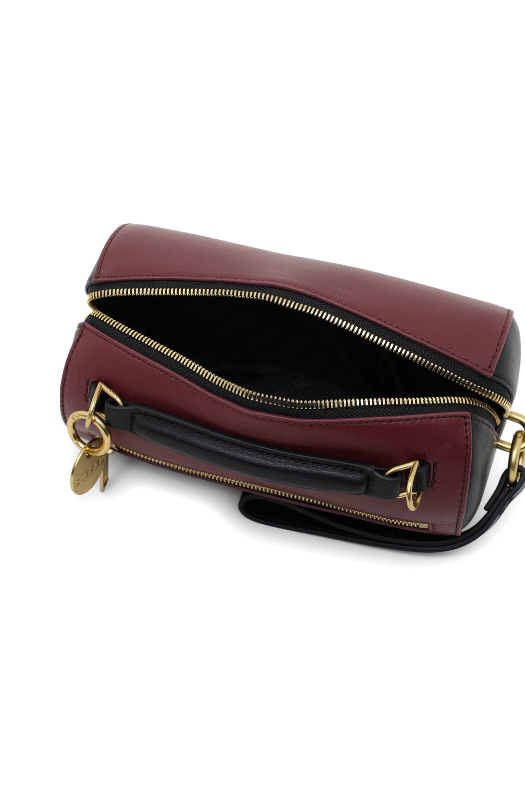 Cylindrical cross-body in nappa leather