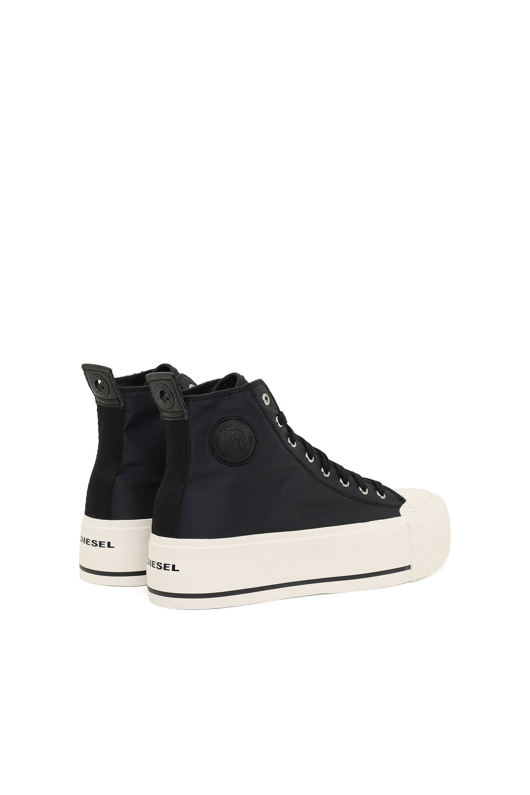 Flatform sneakers in tech satin