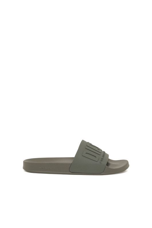Pool slides with embossed logo