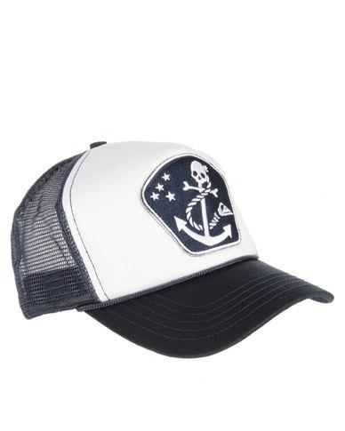 bf76f38d852 Quiksilver Pirate Print Trucker Cap White