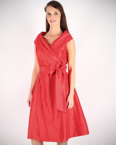 Montique Wide Collar Taffeta Dress Red