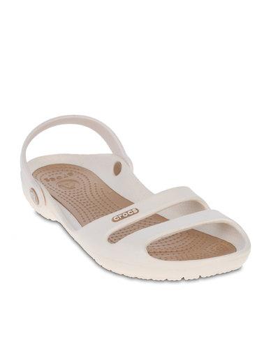 00eb25b56a14 Crocs Cleo II Flat Sandals Oyster Gold