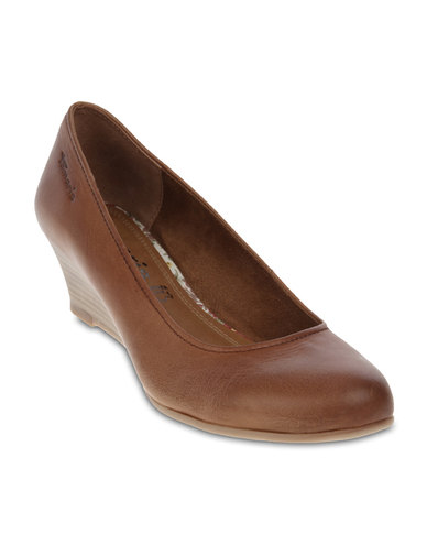 dcfca1d703c Tamaris Wedge Court Shoes Nut Antic