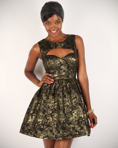 2f2ee6859e67 Rare London Metallic Brocade Dress Black Gold | Zando