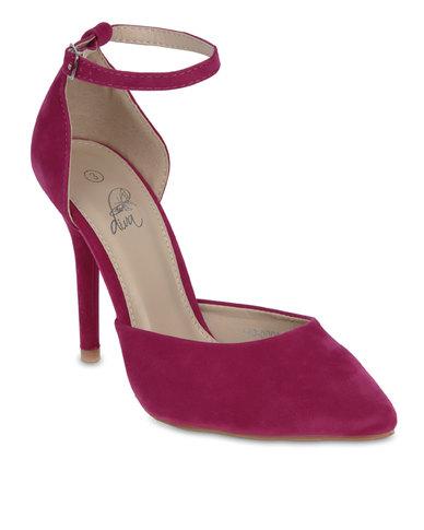 Diva Ankle Strap Court Shoes Fuchsia
