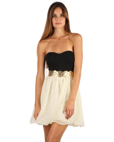 Paprika Bandeau Chiffon Prom Dress Black Cream