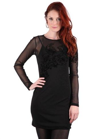 d4770487d769a Utopia Mesh Dress With Flocking Black