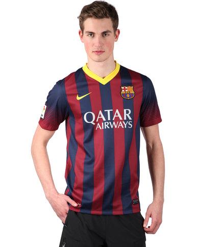 promo code ecaac 39810 Nike FC Barcelona Short Sleeve Home Replica Jersey Blue