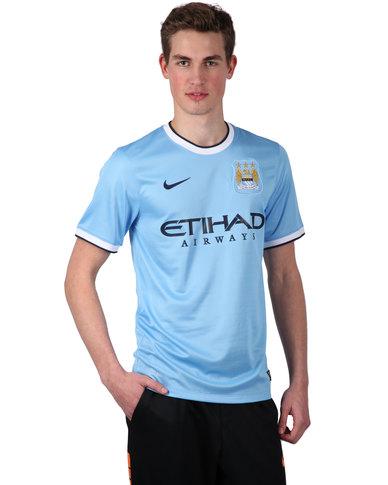 pretty nice 61020 00f13 Nike Manchester City FC Short Sleeve Home Replica Jersey Light Blue