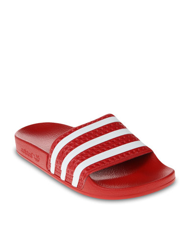 8feed01c66d2 adidas Adilette Slip-On Sandals Red