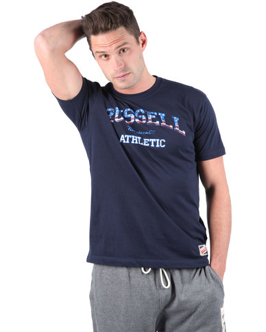 Russell Athletics Short Sleeve Tee With American Flag Arch Logo Print Blue   acacd900ebb1d
