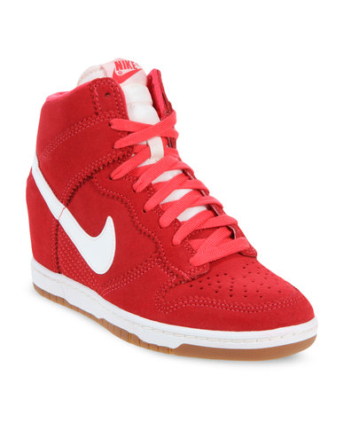 Nike Dunk Sky Hi-Top Wedge Sneakers Red  a9646c4b72