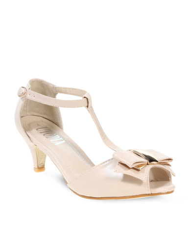 Utopia T- Bar Kitten Heel Nude | Zando