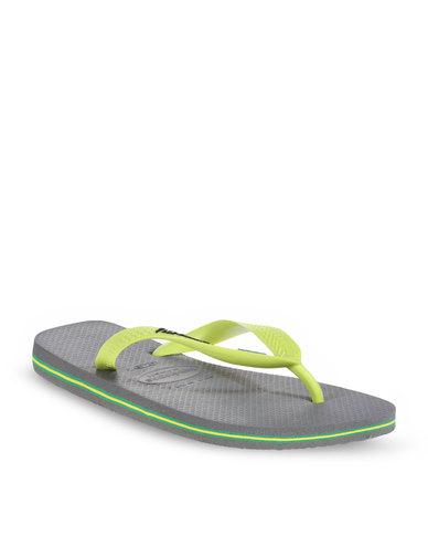 af721195c1266 Havaianas Brazil Logo Men s Flip Flops Grey Lemon Green