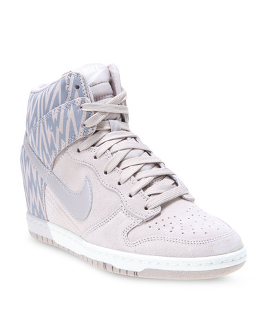 cd737063c81 Nike Dunk Sky Hi Print Wedge Sneakers Silver