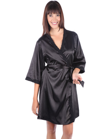Serenade Satin Robe with Lace Trim Black  ca79cff19