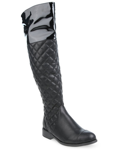 riding normal product lyst boots wide quilt quilted shoes bandolino blushe calf black in leather