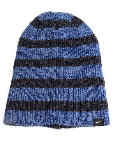 1db2bbca1b4 Nike Slouchy Stripe Beanie Blue