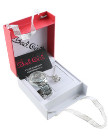 Bad Girl Royalty Watch & Necklace Set Silver-Tone