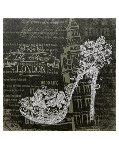 Exceptionnel NovelOnline Canvas Print Glitter Shoe London Wall Art Silver