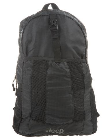 217d9241bb9 Jeep Foldable Mini Backpack Black   Zando