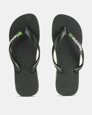 3739543933b41b Havaianas Brazil Logo Flip Flops Black